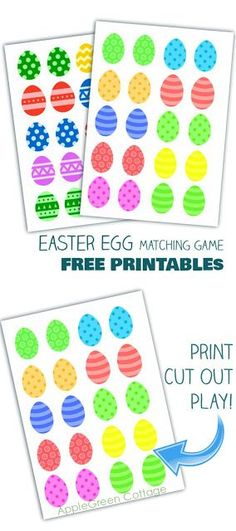 Easter egg matching game and 2 free printables for kids. Get this new free Easter printable to enjoy with your kids! #easter #kidsactivities #freeprintable #kids #homeschooling #toddler #preschool #eastereggs #learning