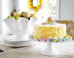 Simple, white serving pieces for Easter colors and goodies