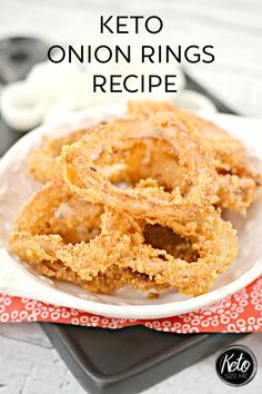 Keto Onion Rings Recipe Easy Keto Side Dish is part of Keto side dishes - I hope you're in the mood for a delicious side because this Keto Onion Rings Recipe will hit the spot! Serve it up with a delicious keto burger Yum Low Carb Crockpot Chicken, Stew Chicken Recipe, Low Carb Keto, Low Carb Recipes, Keto Burger, Comida Keto, Healthy Comfort Food, Healthy Eating, Keto Side Dishes