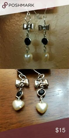 Pearl Bow heart earings Very pretty pair of earings handmade by myself. Handmade by Cruzowls  Jewelry Earrings