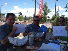 Joe, BT and Bob earning Facebook Credits through Plink.com at Quiznos in Denver, CO
