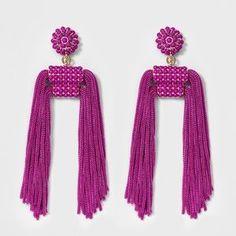Tassel Drop Earrings, Dangle Earrings, Holiday Gifts, Tassels, Floral Design, Fancy, Purple, Stylish, Mixed Media