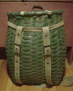 great decor AND storage item Old Baskets, Wicker Baskets, Green Basket, Painted Baskets, Weaving Art, Paint Cans, Barrels, Nantucket, Green And Orange