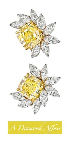Harry Winston Canary and White Diamond Earrings - A Diamond Affair
