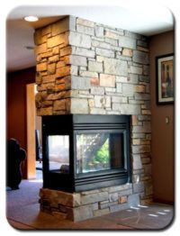 Chilton Cambrian blend natural stone 3 sided fireplace