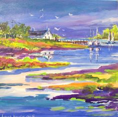 """""""The Inlet""""  small 8x8 worked in acrylics on canvas, full of color.........."""