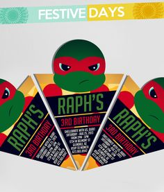 The most adorable TMNT Ninja Turtle Invitation ever!