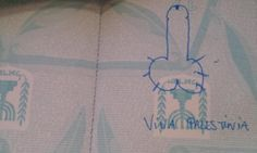 Tal Y'aakobi, from Rosh HaAyin, Israel, claims his passport was defaced by a Chilean border official who drew a penis and a phrase that translates as 'Long Live Palestine' on the document.