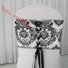 bridal gown belts and custom graduation stolethat suits your style and use pageant banners to decorate the chairs better. Pick some white & black flocking taffeta chair cover sash with tie backs/ elegance damask corset chair sash provided by Black Wedding Dresses, Wedding Dress Styles, Damask Wedding, Chair Sashes, White Damask, Chair Covers, Flocking, Bridal Gowns, Corset