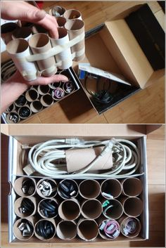 good storage idea for all those wires lying around. put the toilet rolls on a shoe box and pack away