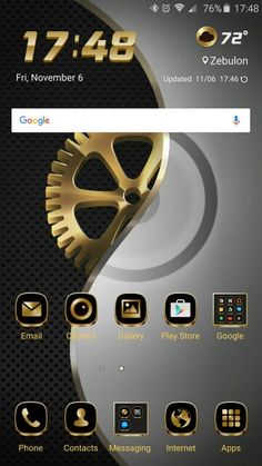 Metal Gold theme on Note Google Phones, Galaxy Note 5, Notes, Messages, App, Metal, Gold, Report Cards, Notebook