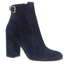 """With a chunky heel and a cool-girl ankle buckle for attitude, this is the perfect boot to transition you into fall (and then wear the rest of the year too). <ul><li>3 3/8"""" heel.</li><li>Suede upper.</li><li>Leather lining.</li><li>Made in Italy.</li></ul>"""