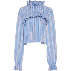 Marni Striped Long Sleeve Blouse ($1,220) ❤ liked on Polyvore featuring tops, blouses, stripe, crop top, striped blouse, blue striped blouse, cotton crop top and blue blouse