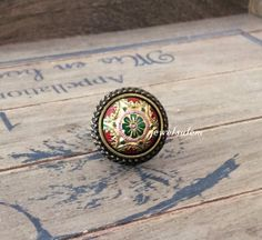 Exotic Ring Festival Jewelry Olive Green Red Gold Vintage Glass Tile Spanish Mosaic Mexican Aztec Statement Ring Tribal Antique Brass LOTR Fantasy Boho