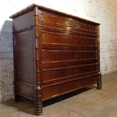 19th Century Antique French Faux Bamboo Burl Walnut Commode www.NicoleFrenchAntiques.com