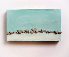 Pebble Art  Unique Wall Art Beach Rocks Art  by MedBeachStones