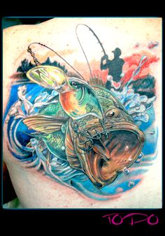 Bass fishing lure action motion tattoo by Todo of McDonough, GA