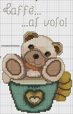 Orso thun animali baby punto croce Funny Cross Stitch Patterns, Canvas Designs, Christmas Cross, Cross Stitching, Blackwork, Needlework, Knitting Patterns, Teddy Bear, Embroidery