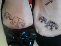 Matching elephant tattoos. Mine is on the right. It's about mothers and daughters. And the fact that Nell always had to see the phants first when we went to the zoo!