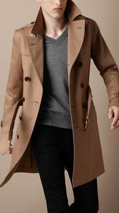Burberry Brit Structured Cotton Trench Coat in Beige for Men (dark camel)