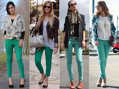 Stilll on the hunt for mint pants :( Outfits Pantalon Verde, Teal Pants Outfit, Looks Style, Casual Looks, Casual Work Outfits, Cool Outfits, Mint Pants, Red Pants, Moda Fashion