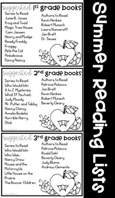 Suggested Summer Reading for 1st through 3rd grades for a Summer Reading Program