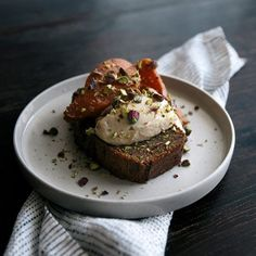 Buckwheat Banana Bread with Poached Quinces & Mascarpone - earthy banana bread, smooth mascarpone & spiced poached quinces with pistachios.