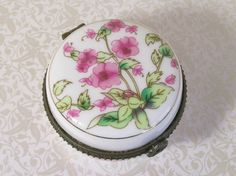Porcelain Trinket Box Floral Flowers Pink White by dalesdreamsII
