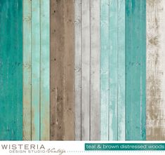 Distressed Wood Paper Pack  Teal Brown Gray White  by WDSVintage, $5.00