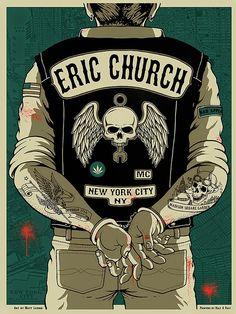 Eric Church Poster (New York, NY) by Matt Leunig (via Inside the Rock Poster Frame)
