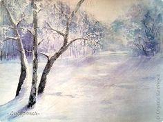 Картина панно рисунок Мастер-класс Урок рисования Рисование и живопись Зимняя сказка акварель МК Акварель Бумага фото 1