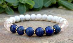 Yoga Bracelets for Womens, Wrist Mala Bracelet, Yoga Jewelry, Blue Lapis, Rose Quartz, White Howlite Mala, Spiritual Bracelet, Healing Mala