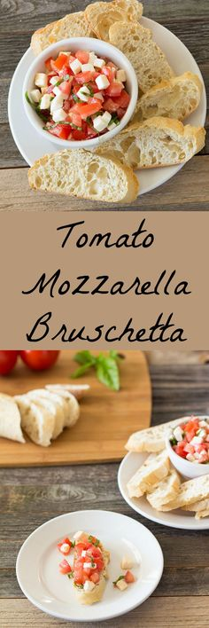 Simple tomato, fresh mozzarella, and basil topping for toasted baguette bread slices.