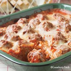 "Meatball Sub Casserole  1 loaf Italian bread, cut into 1-inch thick slices  8-oz. pkg. cream cheese, softened  1/2 c. mayonnaise  1 t. Italian seasoning  1/4 t. pepper  2 c. shredded mozzarella cheese, divided  1-lb. pkg. frozen meatballs, thawed  28-oz. jar pasta sauce  1 c. water    Arrange bread slices in a single layer in an ungreased 13""x9"" baking pan  bake 350 30 min"