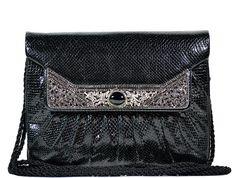 Judith Leiber - Vintage Leather Marcasite Handbag - Black...WOW!