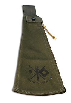"""Canvas Sheath for Woodmans Pal Long Reach - This is a true vintage military design brought back by popular demand in a new high quality sheath. During World War II this was standard issue for the Signal Corps. The branch insignia contains two signal flaps, with a center staff with flaming torch. The flags and the torch are symbolic of signaling or communications. The Latin word """"Pro Patria Vigilans"""" means """"Viligance for Country."""" It is a heavyweight, military spec. olive green canvas with a"""