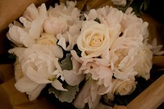 semi-double peony, white cyclamen and Vendela rose nosegays