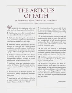 Church Articles Of Faith On Pinterest Primary Lessons Faith And Family H