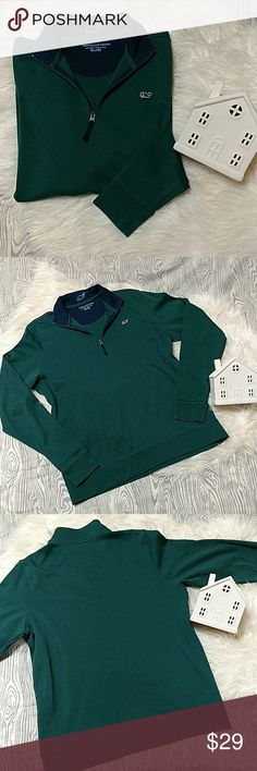 "Vineyard Vines Pullover Quarter Zip Sweater Please refer to pictures for overall condition.  Boys size XL (18)  can we worn by a women's Small or smaller Medium.  EUC. been in the closet, never worn but has been washed.  Shoulder to shoulder is a little over 16"" Armpit to armpit is approximately 20"" Armpit to wrist is about 19"" Top to bottom is near 25""  See measurements and research to make sure fitment is as needed.  No trades. Come Hell or High Water, HOUSTON STRONG 🤘 Vineyard Vines…"
