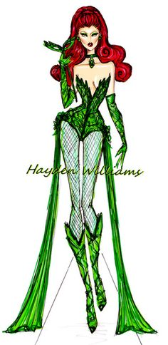 Hayden Williams Fashion Illustrations: 'Halloween Masquerade' by Hayden Williams: Poison Ivy