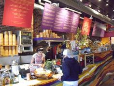 Shot of colorful counter at Life Alive, a raw food restaurant in Salem MA- from Getaway Mavens