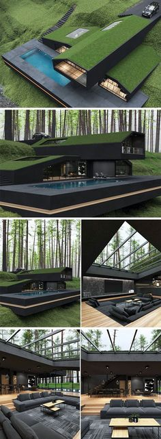 Madara Susanoo, Black House Exterior, House In Nature, Roof Architecture, Container House Design, Modern House Design, House Roof Design, Exterior Design, Exterior Colors