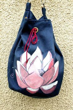Items similar to Boho Hand painted Vegan Shoulder Bag Blue Pink Lotus on Etsy Pink Lotus, Unique Bags, Shoulder Bag, Vegan, Trending Outfits, Unique Jewelry, Handmade Gifts, How To Wear, Blue