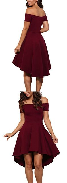 LOSRLY Womens Short Fit and Flare Bridesmaid Dress PRIME Dark Red Burgundy Wine Maroon M 8 10