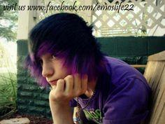 emo boy scene hair he is like my best friend but with purple haistyle omfg wtf. i mean it, but he isnt