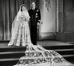 Queen Elizabeth - then Princess Elizabeth - and Prince Philip on their wedding day, November 20th, 1947.