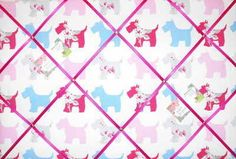 Large Clarke & Clarke Scottie Dog Grey Hand Crafted Fabric Notice / Pin / Memo Board