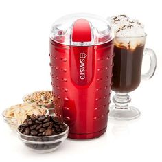 From Savisto High Powered Electric Coffee Bean/spice And Nut Grinder With Stainless Steel Blade Red 70 G Spiced Nuts, Perfect Cup, Fresh Coffee, Gel Pens, Coffee Beans, Pearl White, Kitchenware, Whitening, Coffee Maker