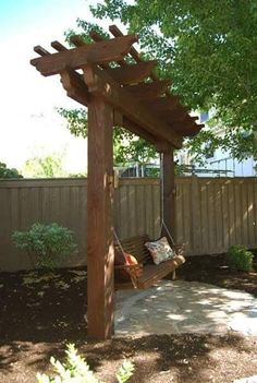 Trellises Timber Kits A timber frame garden arbor swing can help facilitate beautiful and inviting backyard living throughout the year.A timber frame garden arbor swing can help facilitate beautiful and inviting backyard living throughout the year. Wooden Pergola, Outdoor Pergola, Pergola Plans, Pergola Ideas, Arbor Ideas, Small Pergola, Outdoor Yoga, Small Patio, Cheap Landscaping Ideas