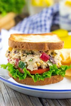 Greek Chickpea Salad Sandwiches.  So easy to make you will want them for lunch everyday!  They are perfect with this Greek twist!